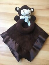 Carters Dark Brown Bear Bow Rattle Lovey Satin Security Baby Blanket Monkey