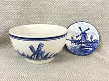 Delft Blue Pottery Hand Painted Dutch Windmill Bowl & Plate