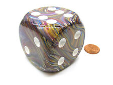 Festive 50mm Huge Large D6 Chessex Dice, 1 Piece - Carousel with White Pips