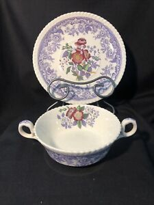 Copeland Spode Mayflower 2 Handle Cream Soup Bowl & Saucer Old Mark Vintage