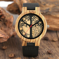 Mens Bamboo Wood Watch Quartz Life Tree Dial Wooden Wristwatch Bracelet Gift