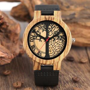Mens Bamboo Wood Watch Quartz Tree Dial Wooden Wristwatch Bracelet Gift