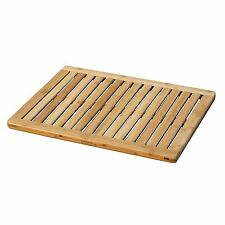 Bamboo Spa Shower Mat Portable Indoor Outdoor Natural Elevated Slated Bath  Rug