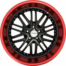 4 GWG Wheels 18 inch Black Red Lip AMAYA Rims fits MAZDA CX-9 2007 - 2018