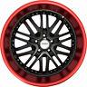 4 GWG Wheels 18 inch Black Red Lip AMAYA Rims fits BMW 3 SERIES (E46) 2000-2005