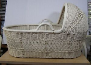 Vtg Large Rattan Wicker Moses Baby Basket Carrier Bassinet