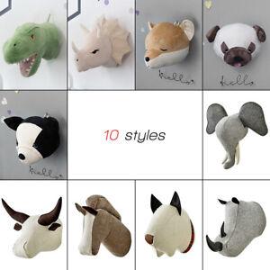 3D Felt Stuffed Animal Head Wall Art Hanging Baby Kids Doll Room Decor Toy Gifts