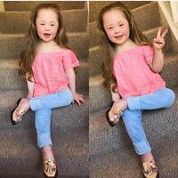 2PCS Toddler Baby Girls Kids Lace Off Shoulder Tops+Denim Pants Jeans Outfit Set