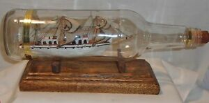 VINTAGE SHIP IN A BOTTLE - WOODEN SAIL BOAT IN GLASS BOTTLE WITH STAND