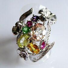 Unikat Morganit Granat Amethyst Tsavorit Rubin Blüten Silber Ring 925 17,5 mm 55