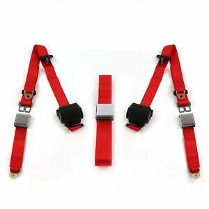 Desoto 1946 - 1961  Airplane 3pt Red Retractable Bench Seat Belt Kit - 3 Belts