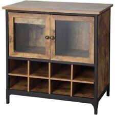 Rustic Wine Cabinet Large Bottle Rack Storage Enclosed Glass Door Pine Furniture