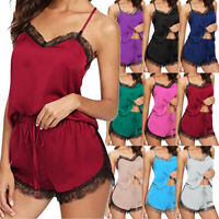 Ladies Satin Silk Lace Sleepwear Shorts Babydoll Lingerie Nightdress Pyjamas Set