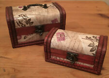 Pretty Rustic Vintage Style Boxes Storage Keepsake Wooden Letters Design New