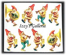 Vintage Gifted Line Victorian Gnomes Parade Playing Instrument Stickers Grossman