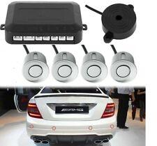 4x Silver Parking Sensors Car Reverse Backup Rear Radar Alert System Buzzer KIT