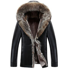 Men Winter PU Leather Hoodie Fur Collar Outwear Motor Trench Padded Thick Jacket
