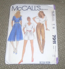 VINTAGE 1982 McCALL'S PATTERN 7911 NAUTICAL ENSEMBLE CULOTTES+TOPS BUST 34 SZ 12