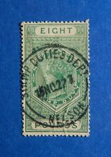 1882 8L NEW ZEALAND STAMP DUTY REVENUE BAREFOOT# 262 USED                CS33227