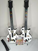 2 Wii Les Paul Gibson Red Octane Controllers w Guitar Hero Aerosmith Game Bundle