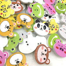 50Pcs Mix Animals 2 Holes Bear Tiger Printing Buttons Wood Sewing Button WB381