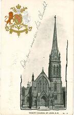 ST JOHN Trinity Church NEW BRUNSWICK Embossed Coat of Arms PC 1905