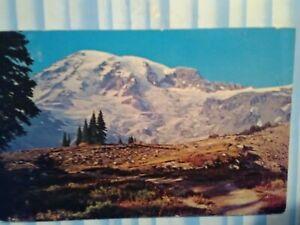 VINTAGE POST CARD MOUNT RAINIER RAINIER NATIONAL PARK  WA