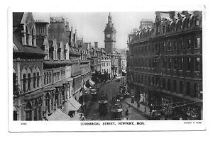 POSTCARD - Commercial Street, Newpot Mon.- Cancelled 1910.