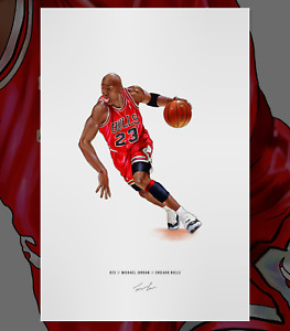 Michael Jordan Chicago Bulls Basketball Illustrated Print Poster Art