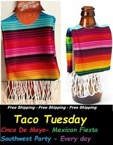 cinco de mayo Mexican Serape fabric Bottle Coozie Koozie Cooler - Taco Tuesday