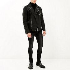 River Island Aspecto Cuero Negro Biker Jacket Medium Nuevo