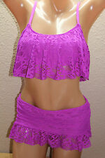 *NWT Kenneth Cole ORC Orchid Lace Flounce Top Skirted Swim Bikini Set M #K17
