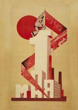 "Russian Propaganda Poster ""MAY 1st"" Vintage Soviet Union Constructivism"