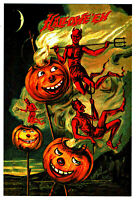 ⫸ 984 Halloween Devils Card REPRO 1910 Postcard Scary Party Invitation J-O-L NEW