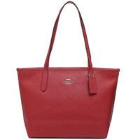NWT COACH Mini City Zip Top Tote Bag Purse Leather Shoulder True Red Gold F83857