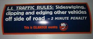 NHL NEW YORK ISLANDERS Rare BUMPER STICKER - L.I. Trafffic