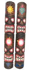 2 Tiki Masks Wooden in 100cm Size Wall Masks in Tiki Hawaii Style Wall Mask