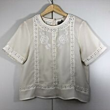 ASOS Size 14 BOHO  Womens Cream Embroidered Floral Summer Blouse Shirt Top