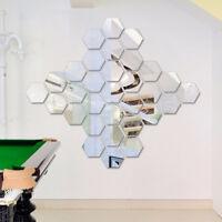 12PCS 3D Mirror Hexagon Vinyl Removable Wall Sticker Decor Mural_Art#