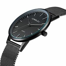 Tammle Men's Super Slim Fashion Casual Quartz Wristwatch Business Mesh Steel Ana