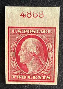US Stamps, Scott #344 2c Washington imperf single 1908 XF/Sup M/NH Wmk. 191