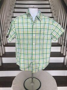 Little Boy's Nautica Short Sleeve Button Down Green And Yellow Shirt Size 5/6