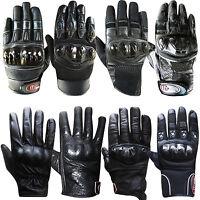 Leather Motorcycle Gloves Motorbike Biker Short Gloves Knuckles Protection