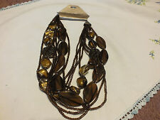 """Beautiful Necklace 8 Strand Brown Beads Org ERICA LYONS Tag 22"""" WOW"""