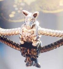 .925 SILVER BEAD EUROPEAN CHARM FOR BRACELET Kangaroo MOM & BABY JOEY k#34 NEW