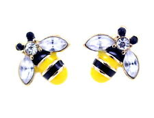 Super cute gold tone black and yellow enamel bee stud earrings with crystal