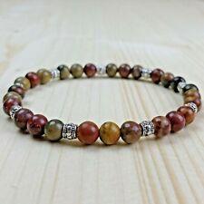 Bracelet Homme femme Jaspe Picasso  Tibet  - Perles Naturelles -   Lithothérapie