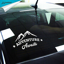 Adventure Awaits Car Decal Sticker Outdoor Vinyl Traveler Quote Window Decals
