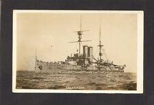 REAL-PHOTO POSTCARD:  H.M.S. BRITANNIA - BRITISH ROYAL NAVY WW-1 BATTLESHIP