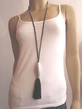 Modekette Bettelkette Damen Hals Kette Leder Lagenlook lang XL Silber Quaste